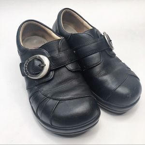 Alegria Black Slip On Clogs with Silver Buckle